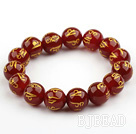 14mm Red Carnelian Beads with Characters of Magic Charms Stretch Bangle Bracelet