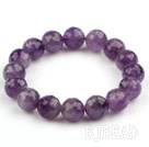 12mm Round Faceted Amethyst Stretch Bangle Bracelet
