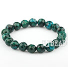 10mm Round Faceted Phoenix Stone Beaded Elastic Bangle Bracelet