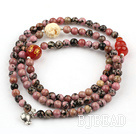 Red Jasper Beaded Stretch Bracelet with Corozo Nut Buddha's Head and Carnelian Cucurbit and Sterling Silver Fish Accessory ( Can also be Necklace )