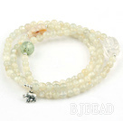 Round Moonstone Beaded Stretch Bracelet with Clear Crystal and Prehnite and Sterling Silver Elephant Accessory ( Can Also Be Worn As Necklace )