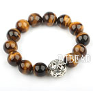 14mm Round Natural Tiger Eye Elastic Bangle Bracelet with Tiber Silver Bead