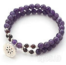 Two Rows Round Faceted Amethyst and Garnet Stretch Bangle Bracelet with Silver Lotus Seedpod Accessory