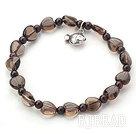 Singe Strand Heart Shape Smoky Quartz and Garnet Stretch Bangle Bracelet with Silver Fish Accessory