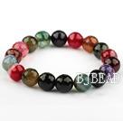 10mm Round Natural Faceted Multi Color Burst Pattern Agate Elastic Bangle Bracelet