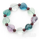 Heart Shape Natural Fluorite and Round Garnet Stretch Bangle Bracelet
