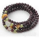 Natural Garnet Beaded Wrap Bangle Bracelet with Tiger Eye and Garnet and Clear Crystal
