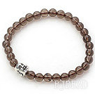 Natural Smoky Quartz and Tibet Silver Buddha's Head Stretch Bangle Bracelet
