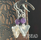 Triangle Shape Thailand Silver and Amethyst Earrings with 925 Sterling Silver Hooks