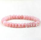 Faceted Indonesia Pink Jade Elastic Bangle Bracelet