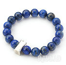 10mm Round Lapis Beaded Stretch Bangle Bracelet with Thai Silver Accessory
