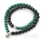 Black Agate and Malachite Beaded Wrap Bangle Bracelet with Silver Lotus Seedpod