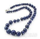 Classic Design Round Lapis Graduated Beaded Necklace with Sterling Silver Spacer Beads