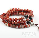 Natural Red Jasper Prayer Bracelet with Black Agate and Sterling Silver Beads ( can also be necklace)