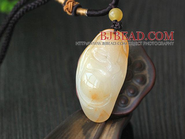 A Grade Huanglong Jade Maitreya Pendat with Brown Thread
