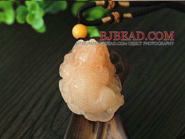 Rare Color Luanglong Jade Animal Shape Hanger Ketting met Brown Thread