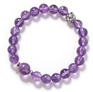 Round Amesthyst and Silver Lotus Accessory Stretch Bangle Bracelet