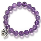 Rund 10mm Amesthyst og sølv Elephant Shape Accessory Stretch Armbånd Armbånd