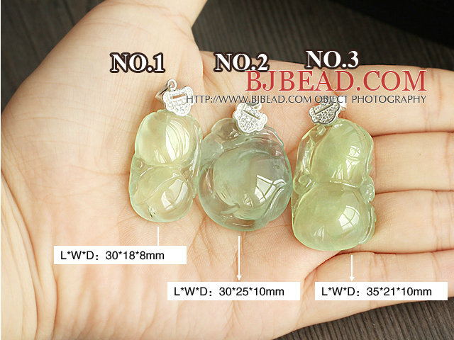 A Grade Prehnite Pendant with Sterling Silver Chain ( You can choose one from three designs)