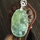 Un colgante de la forma del guisante Prehnite Grado con la cadena de plata esterlina (Usted puede elegir uno de cuatro diseños)