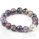 12mm Round Natural Charoite Elastic Bangle Bracelet with Sterling Silver Beads