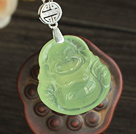 A Grade Prehnite Laughing Buddha Pendant with Sterling Silver Chain ( You can choose one from two designs)