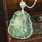 Fashion Style Maitreya Buddha Pendant Prehnite Necklace with Sterling Silver Chain