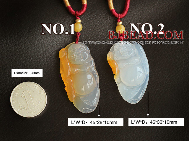Bag Buddha Shape High Quality Ice Agate Pendant Necklace with Adjustable Cord ( You can choose one from the two pendants )