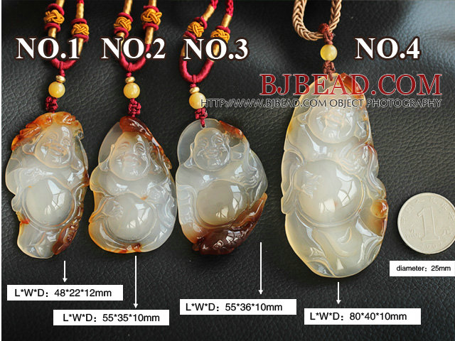 Maitreya Buddha Shape Ice Agate Pendant Necklace with Adjustable Cord ( You can choose one from four pendants )