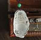 Classic Dull-Polished White Crystal Buddhu Pendant Necklace With Green Agate (Adjustable Cords)