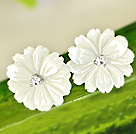 Beautiful White Shell Flower Zircon Sterling Silver Studs Eearrings under $ 40