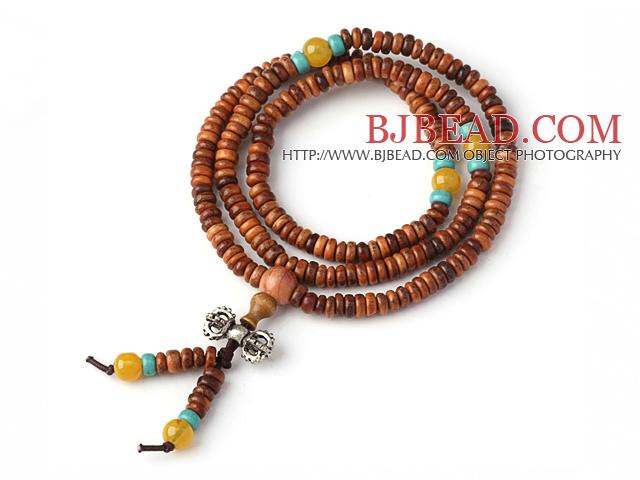 Multi Strands Disc Shape Huanghua Pear 216 Rosary Beads Bracelet