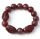 Nice Natural Xinjiang Raisins Original Red Agate Rosary Bracelet With Buddhu Head