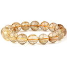 Fashion Natural Round Gold Rutilated Quartz Beaded Stretch Bracelet (Different Sizes Can Be Available)