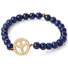 Fashion Round Lapis Stone Beaded Stretch Bangle Bracelet With Gold Plated And Inlayed Zircon Circular Ring