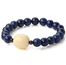 Fashion Round Lapis Ivory Nut And Garnet Beaded Stretch Bangle Bracelet