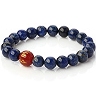 Beautiful Round Lapis And Printed Red Agate Beaded Stretch Bangle Bracelet