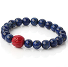Beautiful Round Lapis And Red Lotus Beads Stretch Bangle Bracelet