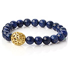 Fashion 8mm Round Lapis Stone Beaded Stretch Bangle Bracelet With Hollow Golden Ball under $ 40