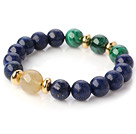 Fashion Round Lapis Malachite And Gold Rutilated Quartz Beads Stretch Bangle Bracelet With Golden Spacers
