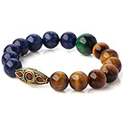 Fashion ronde Lapis En dubbele kleur Tiger Eye Stretch Bangle Armband met Tibetaanse Type Kralen