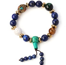 Fashion ronde Lapis Groen Turquoise En Tiger Eye White Shell kralen Stretch armband met Tibetaanse Bedels