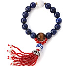 Fashion ronde Lapis Tiger Eye En Lotus White Shell kralen Stretch armband Met Rode Agaat Kwasten