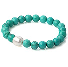 Popular Round Xinjiang Green Turquoise And Natural White Pearl Beaded Stretch Bracelet