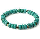 Nice Faceted Xinjiang Green Turquoise Beaded Stretch Bracelet With Copper Spacers