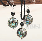 Classic Design Mosaic Abalone Shell Set ( Pendant and Matched Earrings )