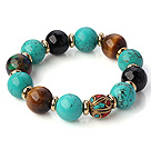 Fashion Round Xinjiang Green Turquoise Tiger Eye And Black Agate Beaded Stretch Bracelet