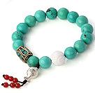 Fashion Runde Xinjiang Grøn turkis og hvid Shell perler armbånd med 925 Sølv Fish And Red Agate Pendler