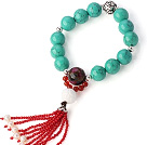Pretty Xinjiang Green Turquoise Mosaic Stone White Shell And Red Agate Tassel Bracelet With 925 Silver Charms