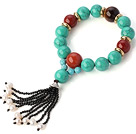 Pretty Round Xinjiang Green Turquoise Red Stone White Pearl And Black Agate Tassel Stretch Bracelet